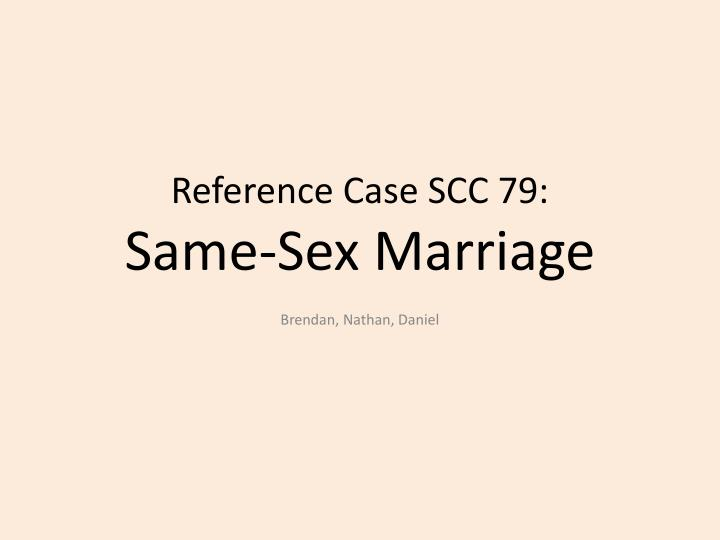 References on same sex marriages