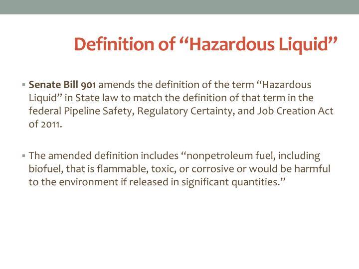 """Definition of """"Hazardous Liquid"""""""