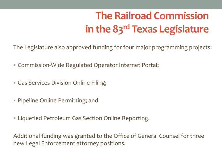 The railroad commission in the 83 rd texas legislature1