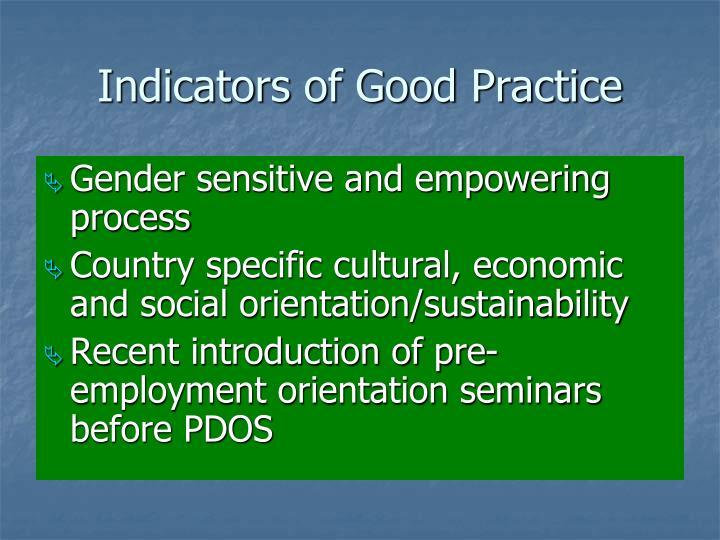 Indicators of Good Practice
