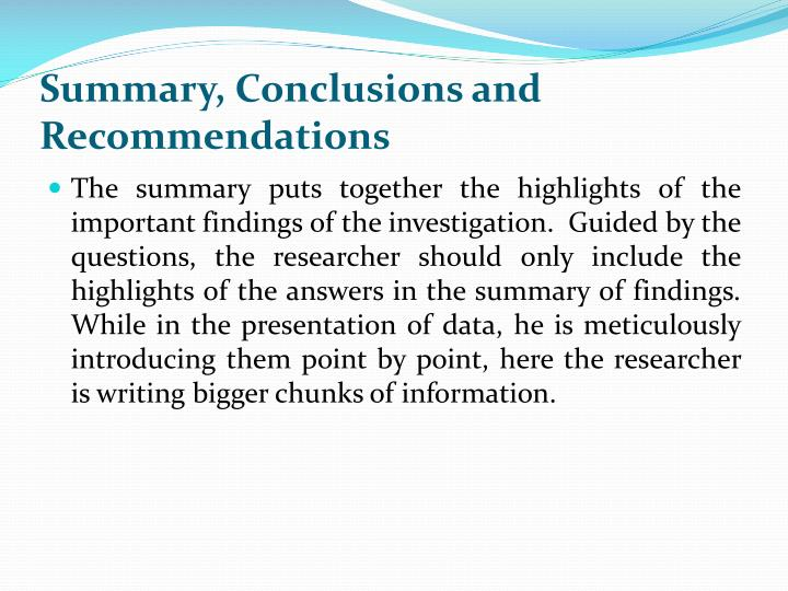 summary conclusions recommendations thesis Read chapter 1 summary, findings, conclusions, and recommendations: plasma processing of materials is a critical technology to several of the largest ma.