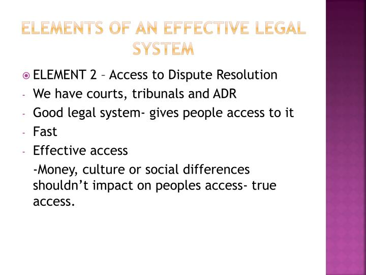 Elements of an effective legal system1