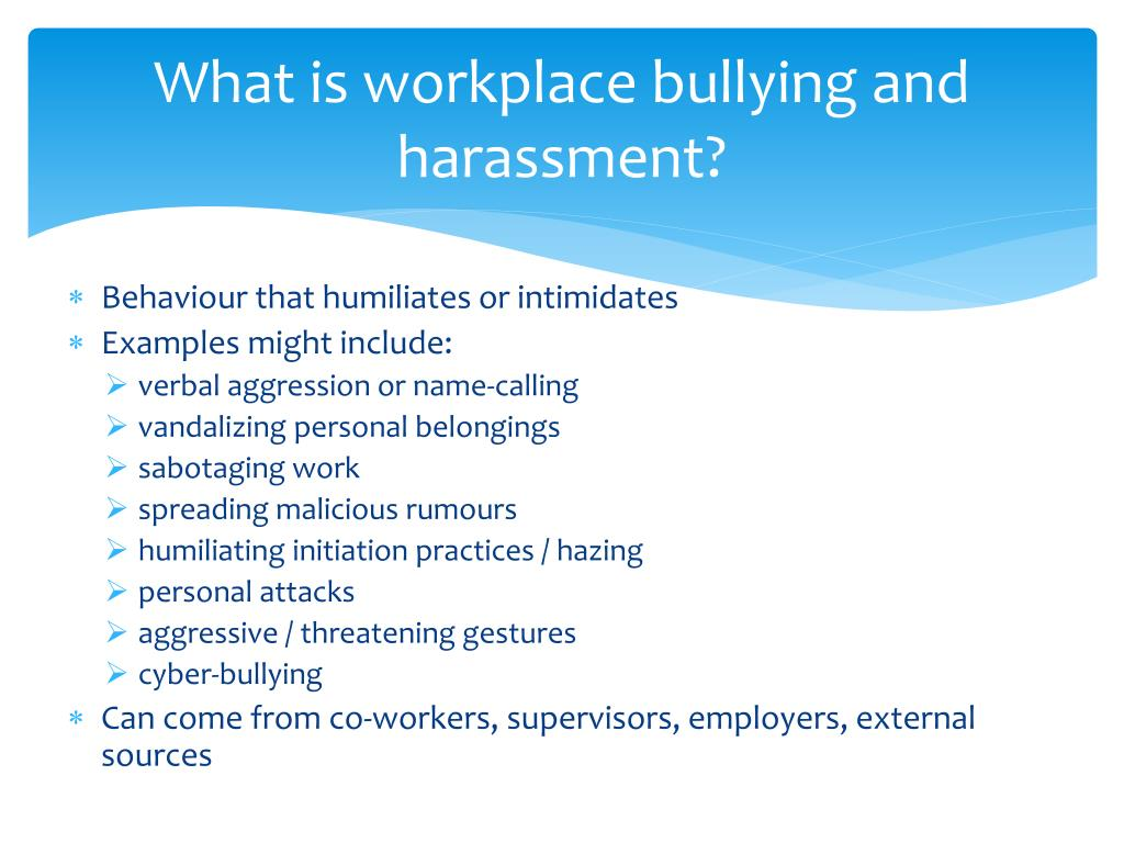 PPT - Workplace Bullying and Harassment PowerPoint Presentation - ID