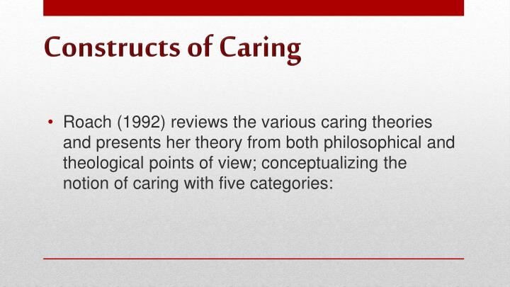 Roach (1992) reviews the various caring theories and presents her theory from both philosophical and theological points of view; conceptualizing the notion of caring with five categories