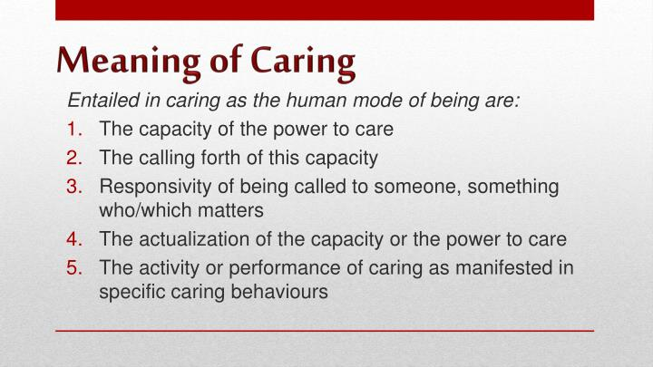 Meaning of caring1