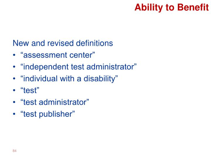 Ability to Benefit