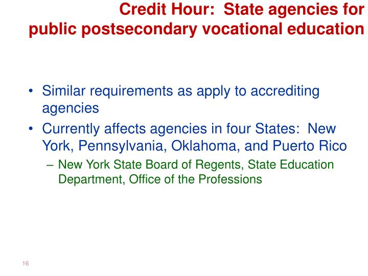 Credit Hour:  State agencies for