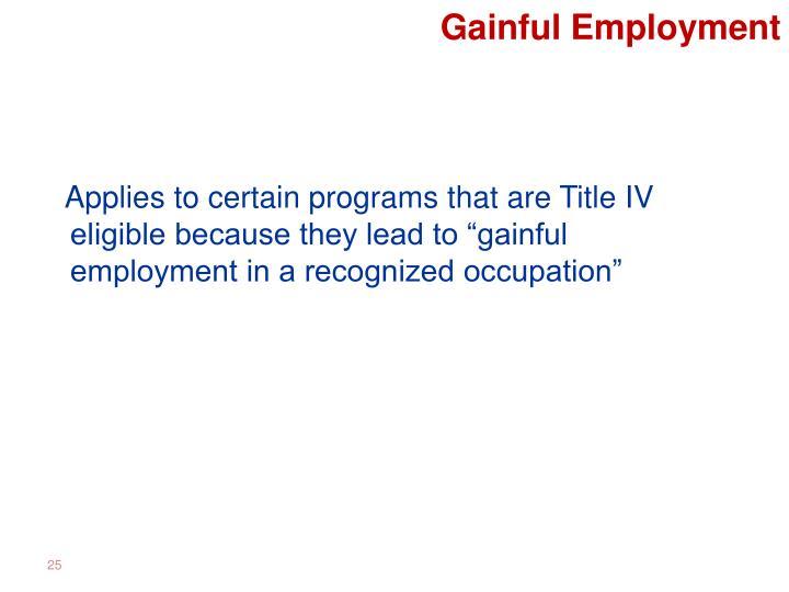 Gainful Employment