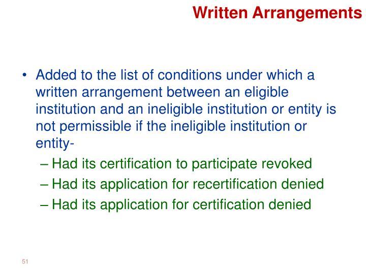 Written Arrangements