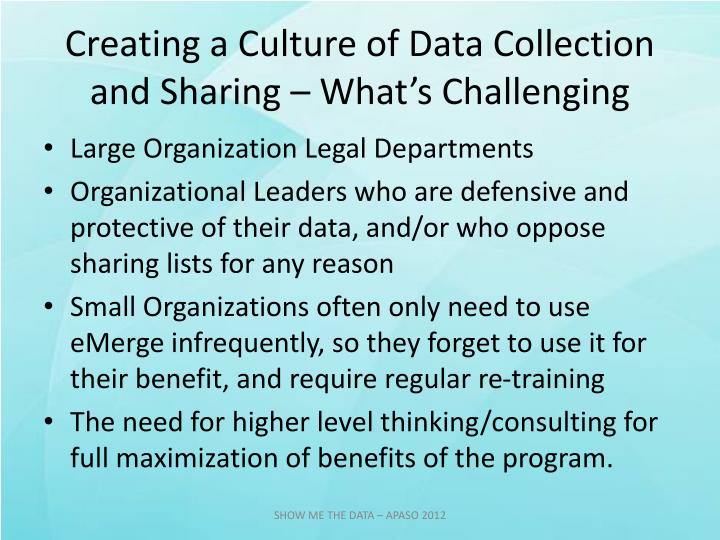 Creating a Culture of Data Collection and Sharing – What's Challenging