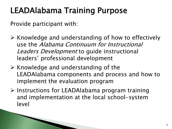 LEADAlabama Training Purpose