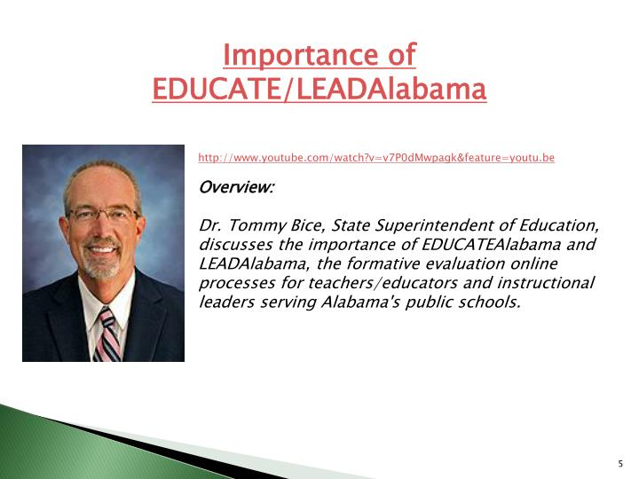 Importance of EDUCATE/LEADAlabama