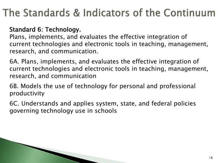 The Standards & Indicators of the Continuum