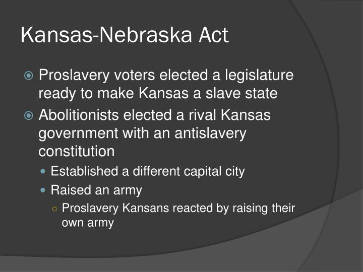 implementing the proslavery constitution When proslavery forces in lecompton, kansas, drafted a proslavery constitution in 1857 that many felt was fraudulent, stephen a douglas 1 refrained from making any public statements concerning the framework of the kansas government.
