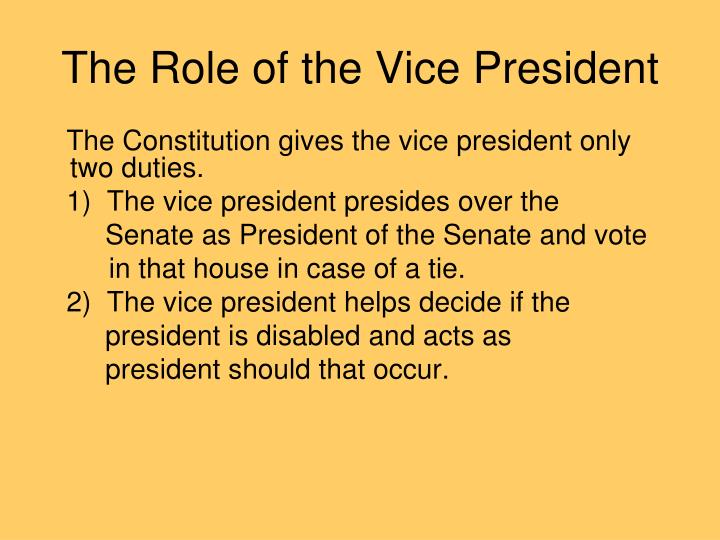 The Role of the Vice President
