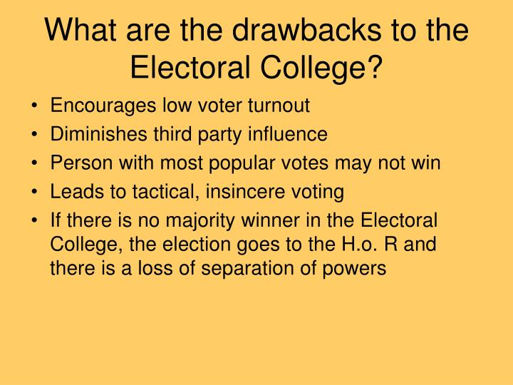 What are the drawbacks to the Electoral College?