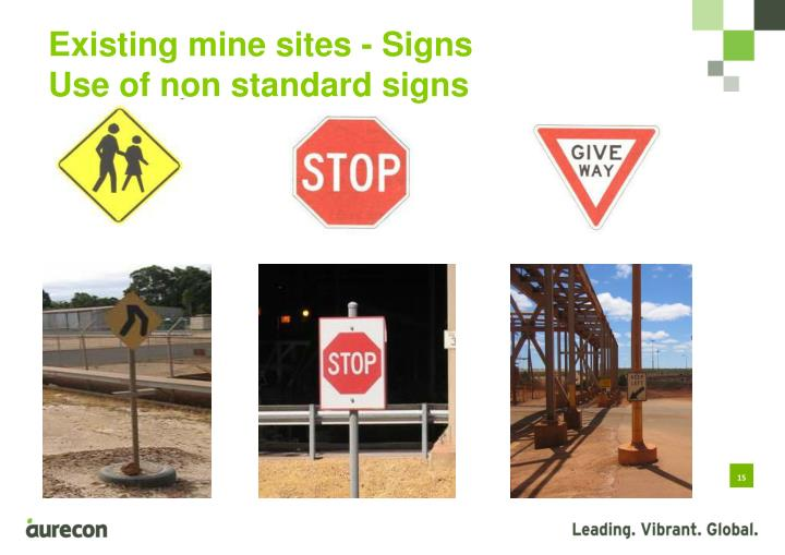 Existing mine sites - Signs