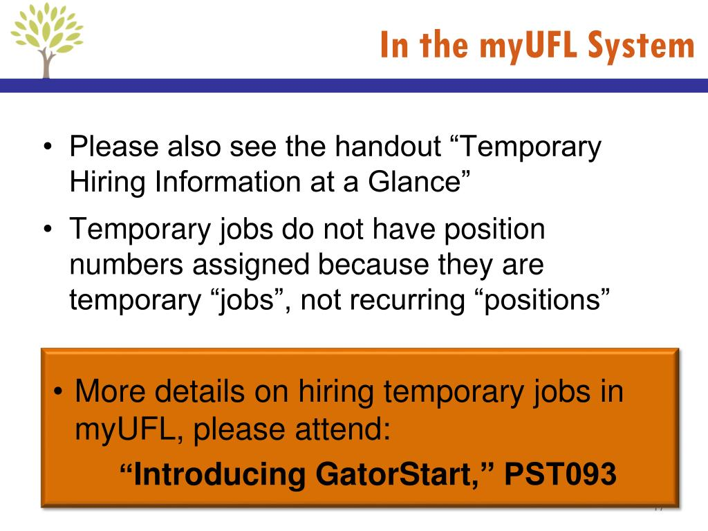 PPT - Overview to Temporary (OPS) Employment for UF