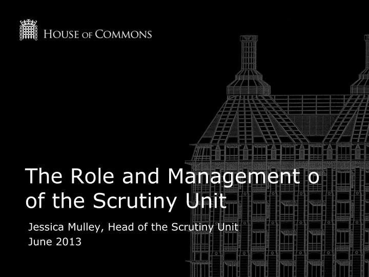 the role and management o of the scrutiny unit n.