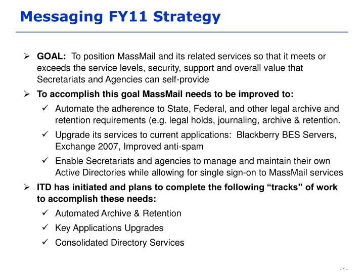 Messaging fy11 strategy