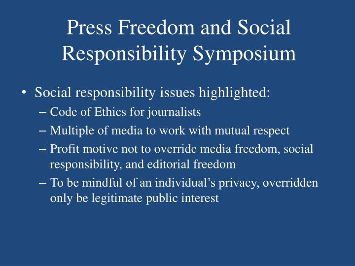 Press Freedom and Social Responsibility Symposium