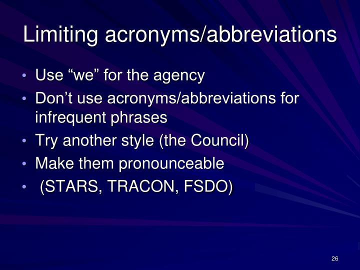 Limiting acronyms/abbreviations