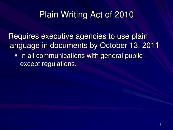 Plain Writing Act of 2010