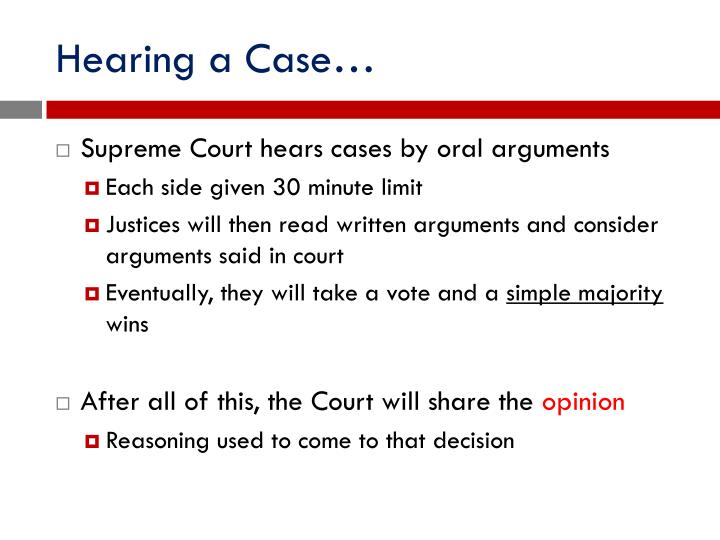 Hearing a Case…