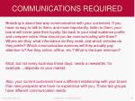 communications required