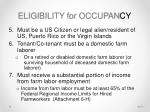 eligibility for occupan cy