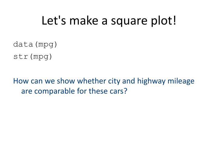 Let's make a square plot!