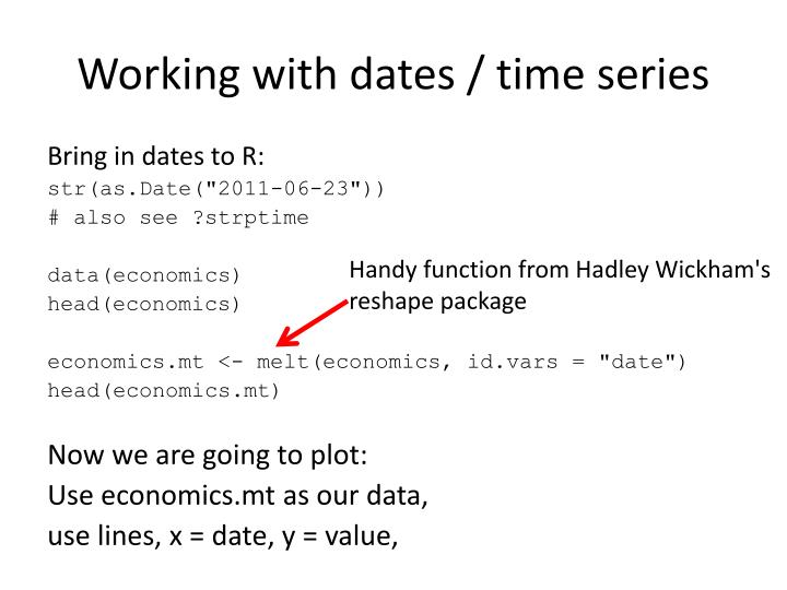 Working with dates / time series