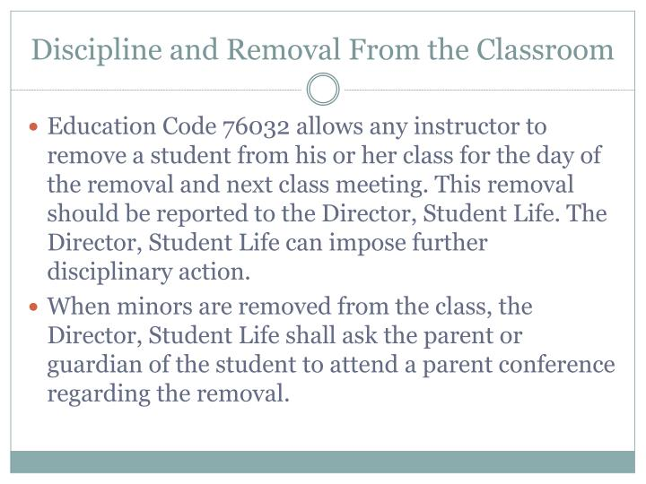 Discipline and Removal From the Classroom