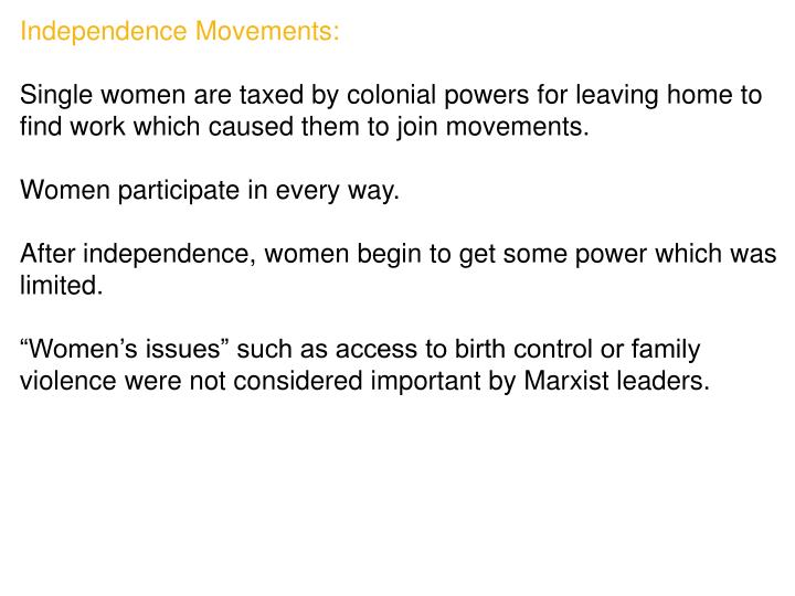 Independence Movements: