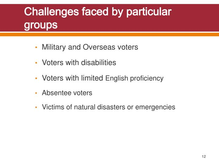 Challenges faced by particular groups