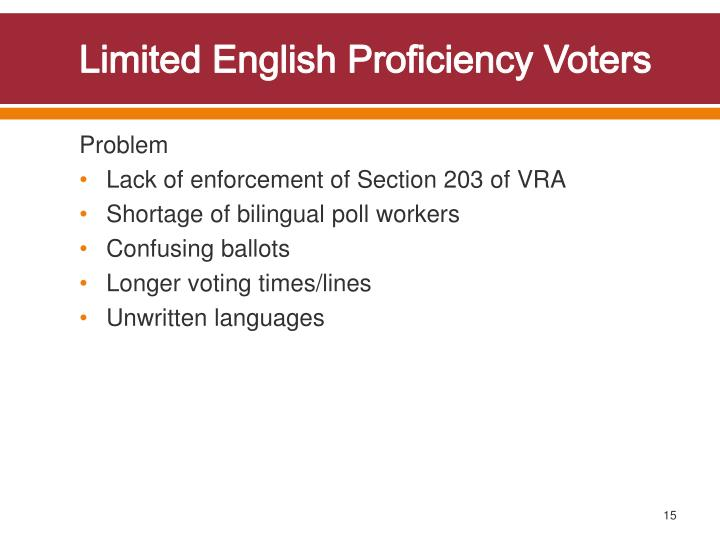 Limited English Proficiency Voters