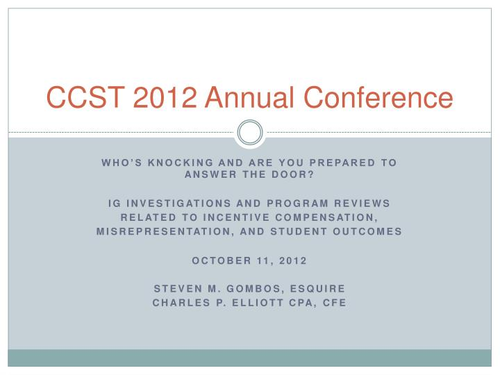 ccst 2012 annual conference n.