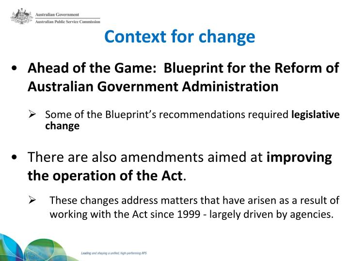 Ppt public service amendment act 2013 public service amendment context for change ahead of the game blueprint for the reform of australian government administration malvernweather Choice Image