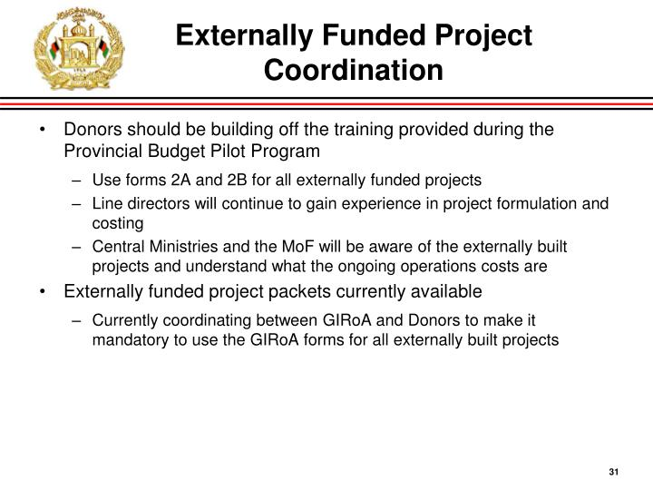 Externally Funded Project Coordination