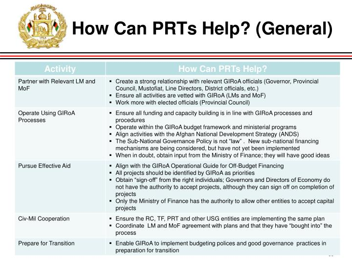 How Can PRTs Help? (General)