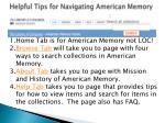 helpful tips for navigating american memory