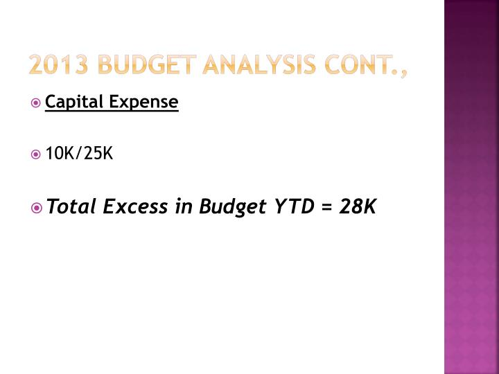 2013 Budget analysis Cont.,