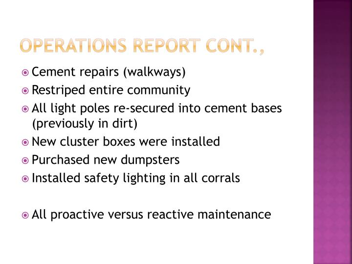 Operations report Cont.,