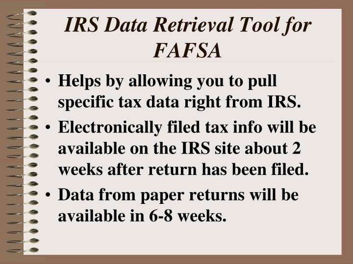 IRS Data Retrieval Tool for FAFSA
