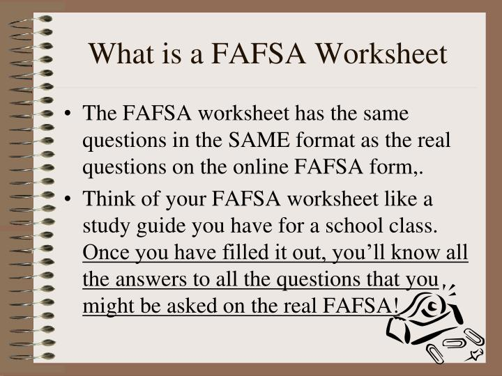What is a FAFSA Worksheet