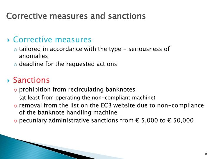 Corrective measures and sanctions