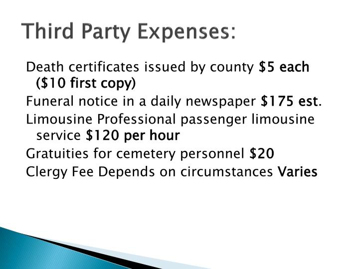 Third Party Expenses: