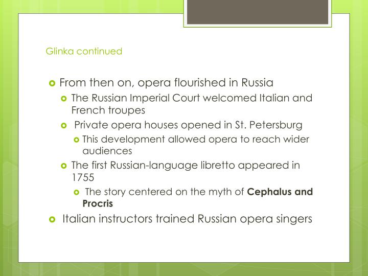 Glinka continued