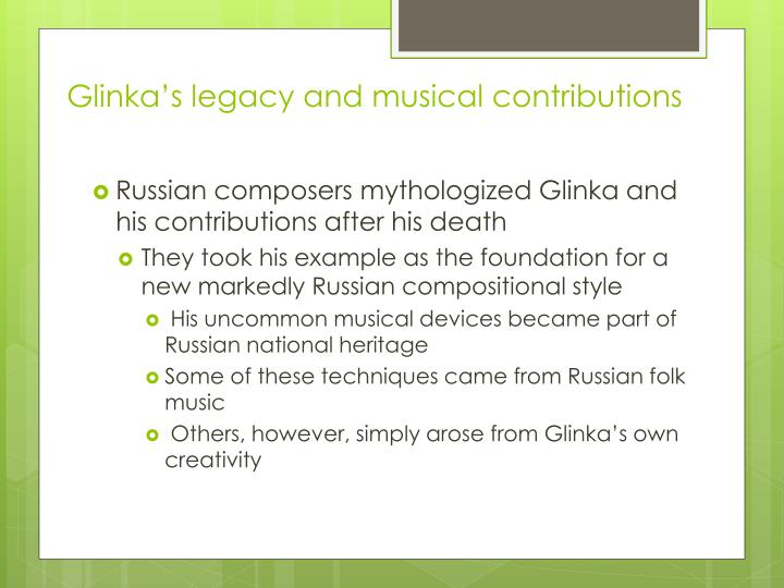 Glinka's legacy and musical contributions