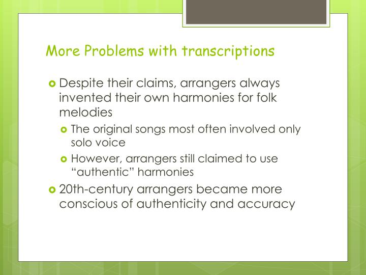More Problems with transcriptions
